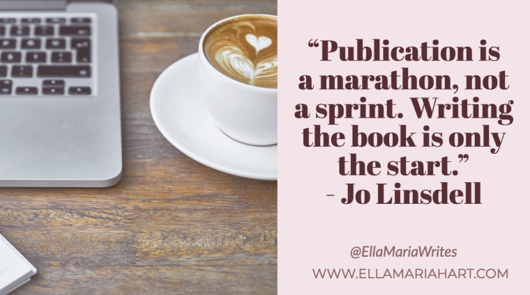 """Publication is a marathon, not a sprint. Writing the book is only the start."" ― Jo Linsdell"